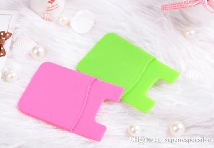 Elastic silica Wholesales Cell Phone Wallet Case Credit ID Card Holder Pocket Stick On 3M Adhesive Black/Blue/Pink/Green/Yellow