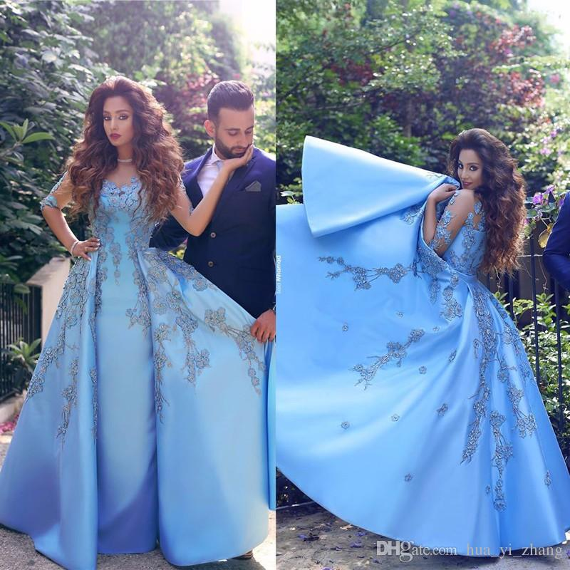 2017 Blue Prom Dresses Sheer Crew Neckline With Long