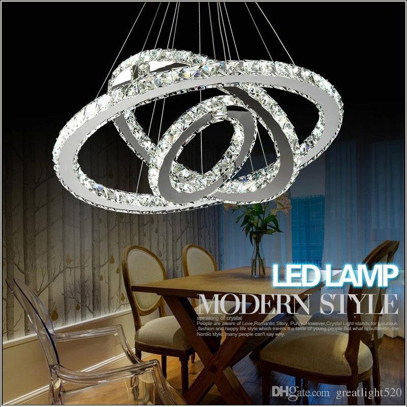 Moderno FAI DA TE K9 Lampadario di cristallo LED LED Circel Ciondolo Illuminazione 3/2 Anelli Appeso Lampada a sospensione Lustro Acciaio inox Lampadario da cucina in acciaio inox