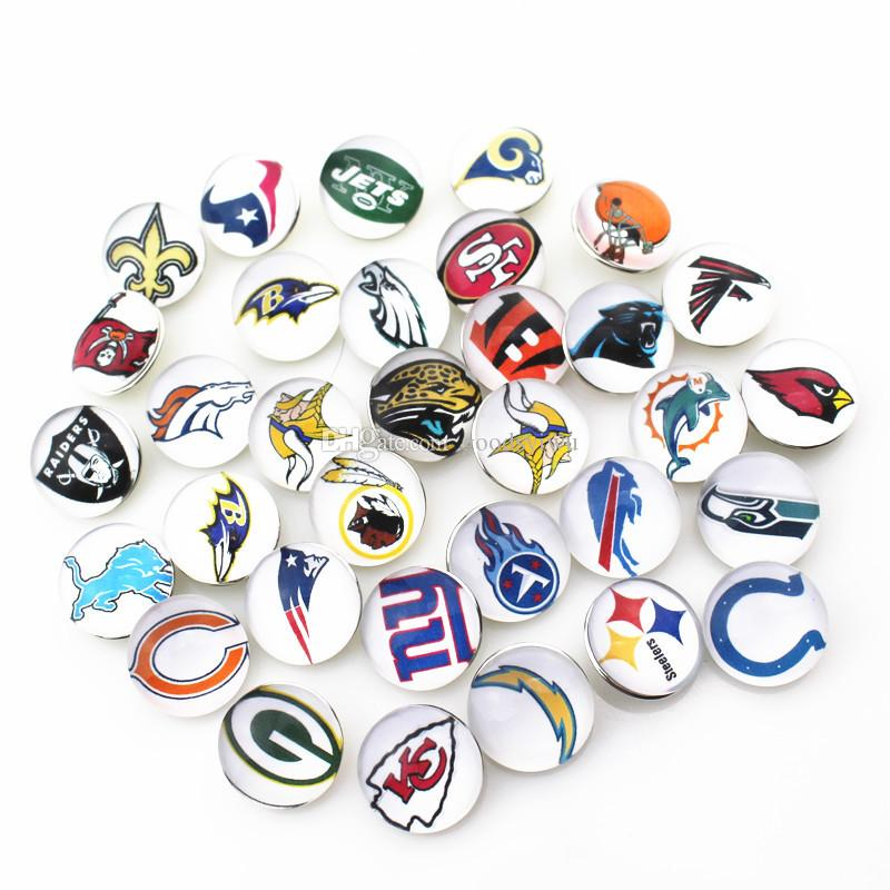 32 Teams Mixed American Football 18mm Snap Button Jewelry Charms For Ginger Snap Bracelet necklace