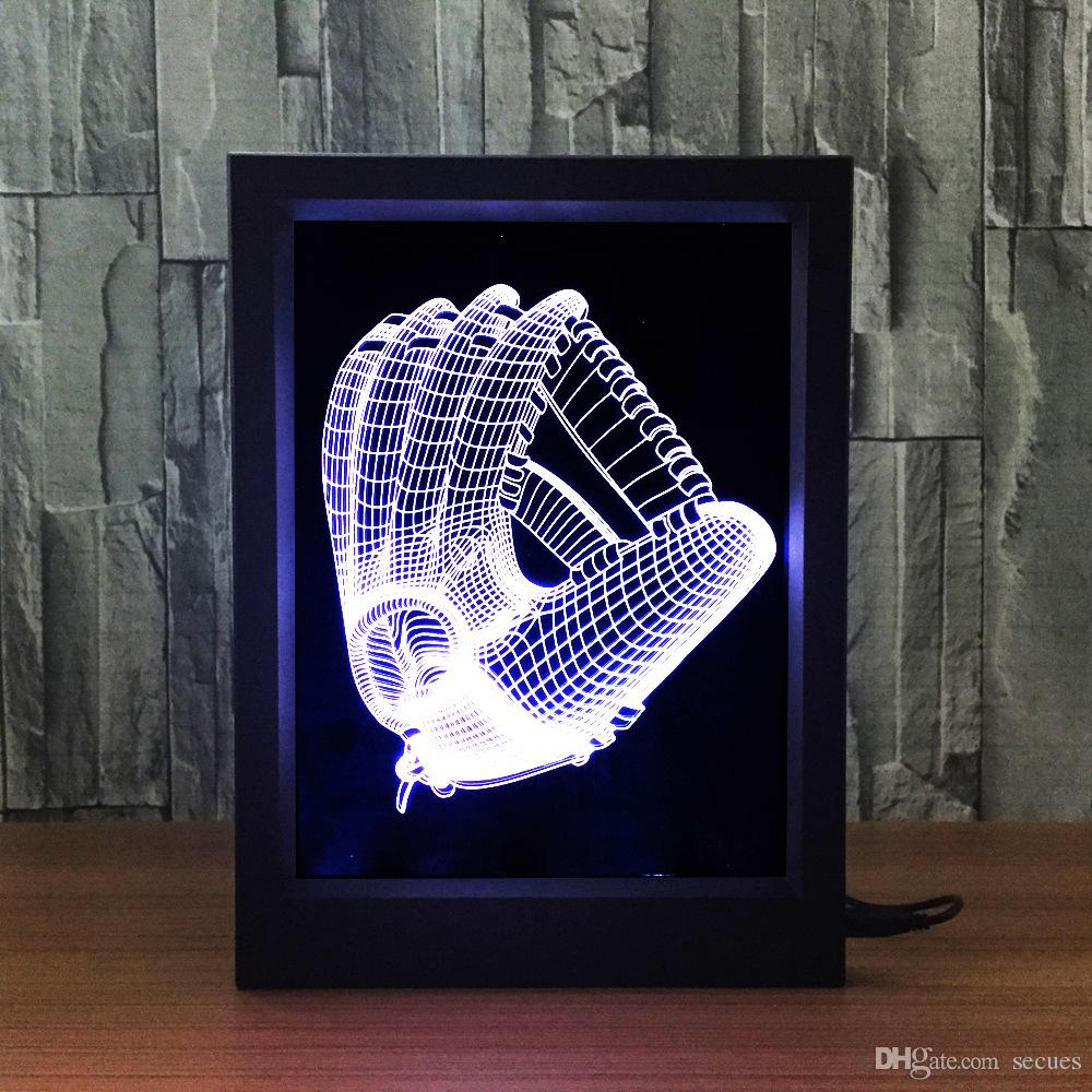 3D Baseball Gloves LED Photo Frame IR Remote 7 RGB Lights Battery or DC 5V Factory Wholesale Dropship
