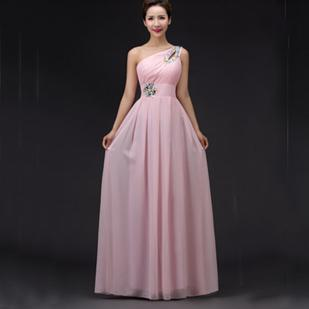 One Shoulder Floor Length Gowns Pink Country Western Bridesmaid ...