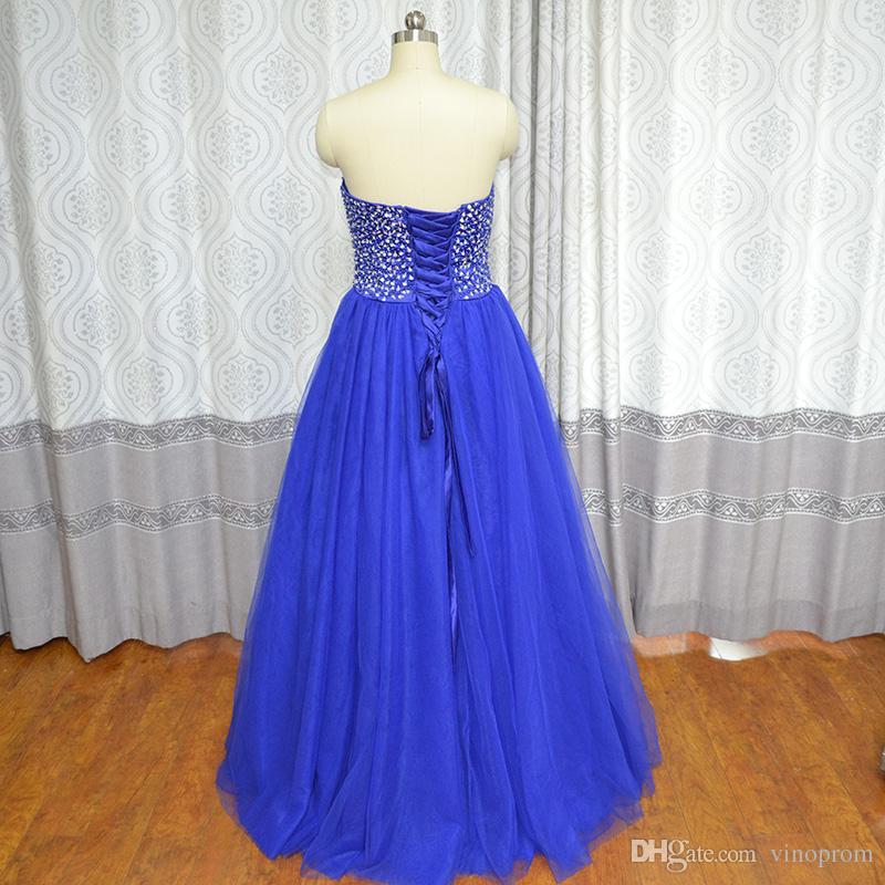 Real Photo Vinoprom Vestido De Debuttante Para 15 Anos Ball Gown Sweetheart Royal Blue Beaded Abiti Quinceanera