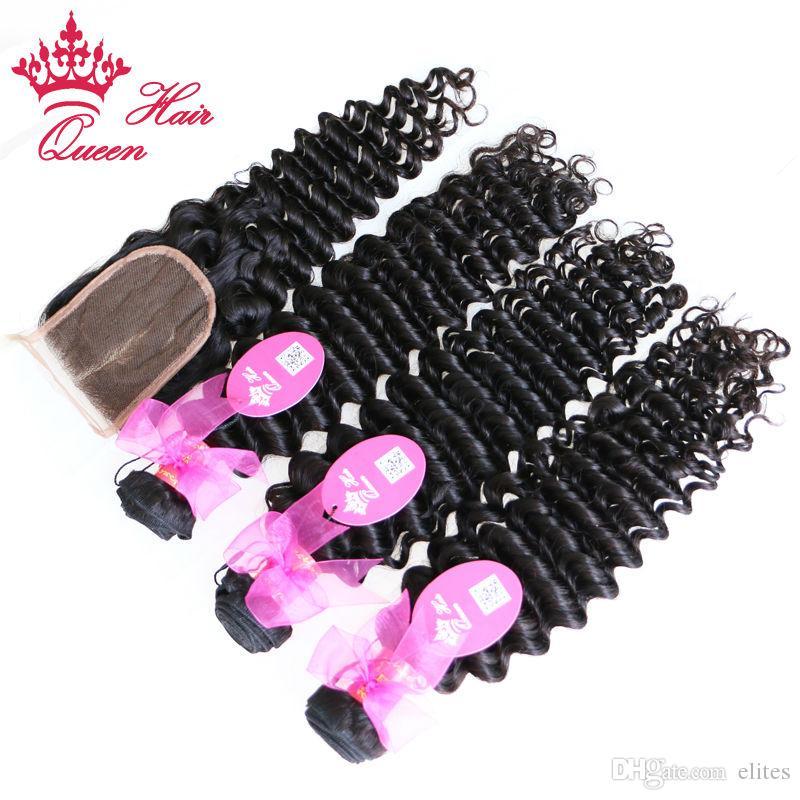 Queen Hair Products Brasilianische tiefe Welle 1 stück Spitze Verschluss mit 3 stücke Bündel, 4 teile / los Brasilianische jungfrau Menschenhaar Weave Erweiterungen 10