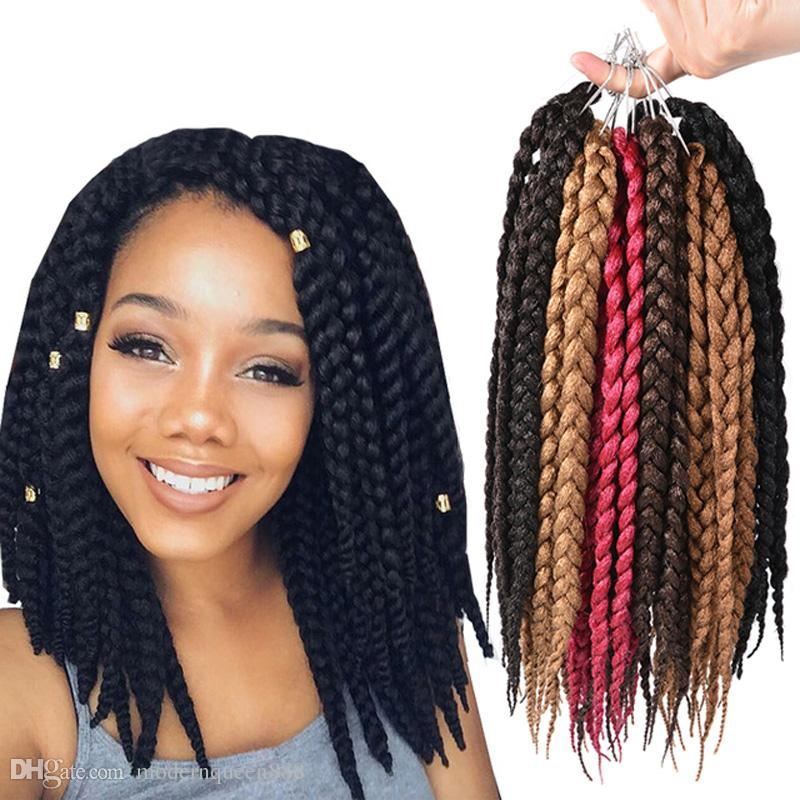 2018 Sample 12inch 3s Box Braids Crochet Twist Kanekalon Synthetic