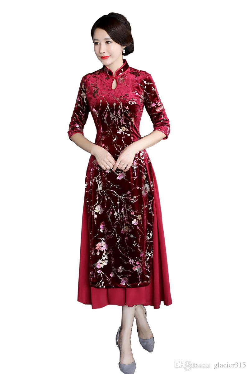 ea8ac5adf1c Shanghai Story 3 4 Sleeve Vietnamese Ao Dai Traditional Clothing Qipao Long  Chinese Cheongsam Dress Modern Cheongsam 2 Style Cheongsam Prom Dress  Cheongsam ...