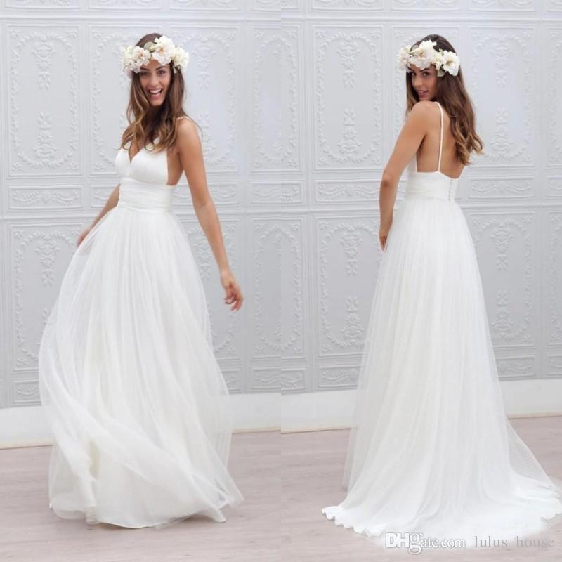Spaghetti Strap Wedding Dress Deep V Neck Boho A Line Ruched Backless Bohemian Covered Button 2017 New Arrival
