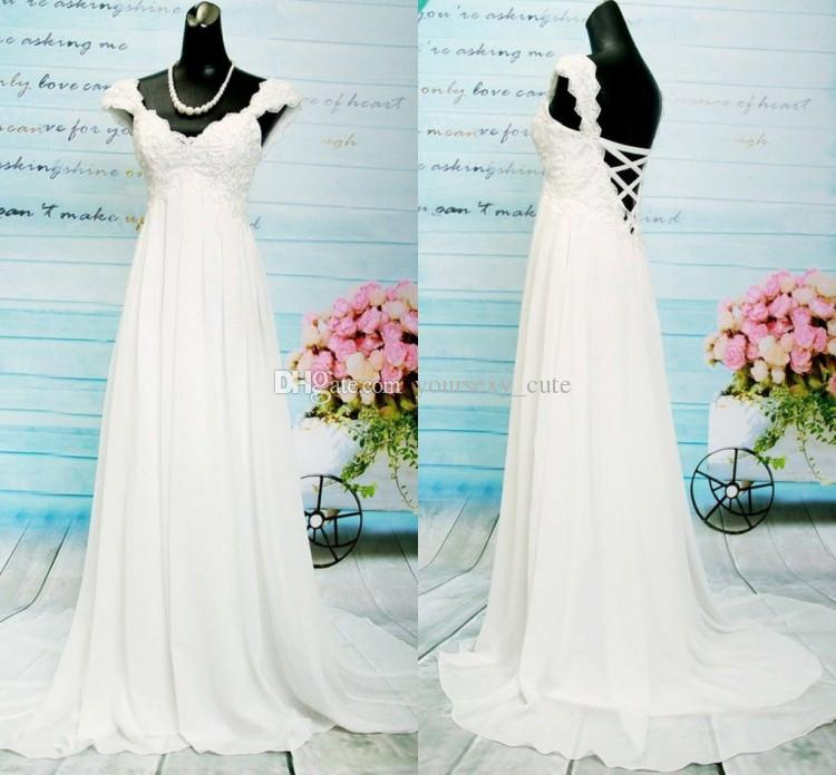 Cap Sleeves Wedding Dresses V Neck Lace Chiffon Empire Wedding Dress ...