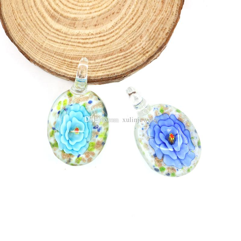 Lampwork Glass Pendants Flat Round Handmade Arts Fused Peony Pendant Charms For Necklaces Making 12pcs/box, MC0041