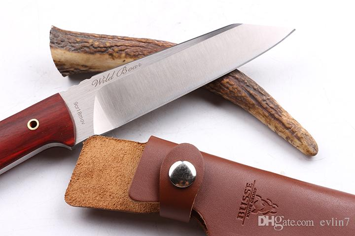 Special Offer 100% Original Wild Boar Survival straight Hunting knife 9Cr18 58HRC Satin blade knife fixed blade knives with leather sheath