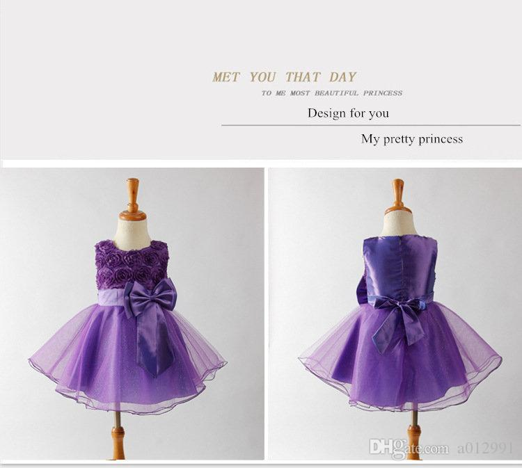 2017 Hot Princess Girl Tutu Dress with Flowers Girl wedding ball gown dress with neat bow waist-tie and sheer cover For Birthday Festival