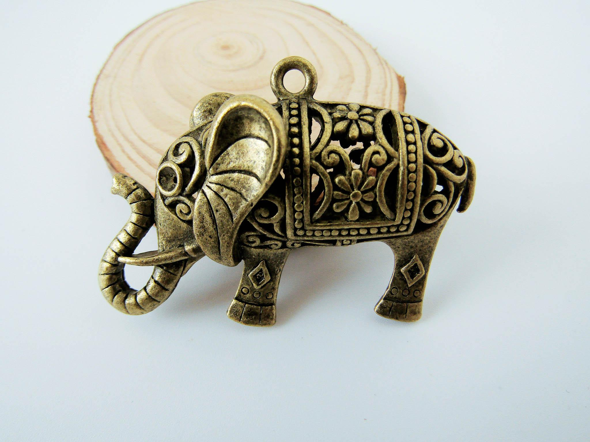 2 pieces alloy Elephant charms,14x36x52mmmm antique bronze elephant pendant  setting Jewelry ZD0 2094