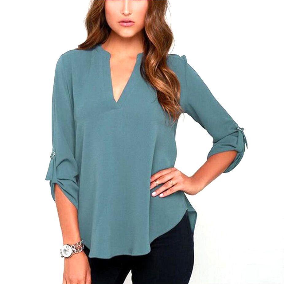 2017 Women Chiffon Blouse Tops V Neck Long Sleeve Blouses Solid ...