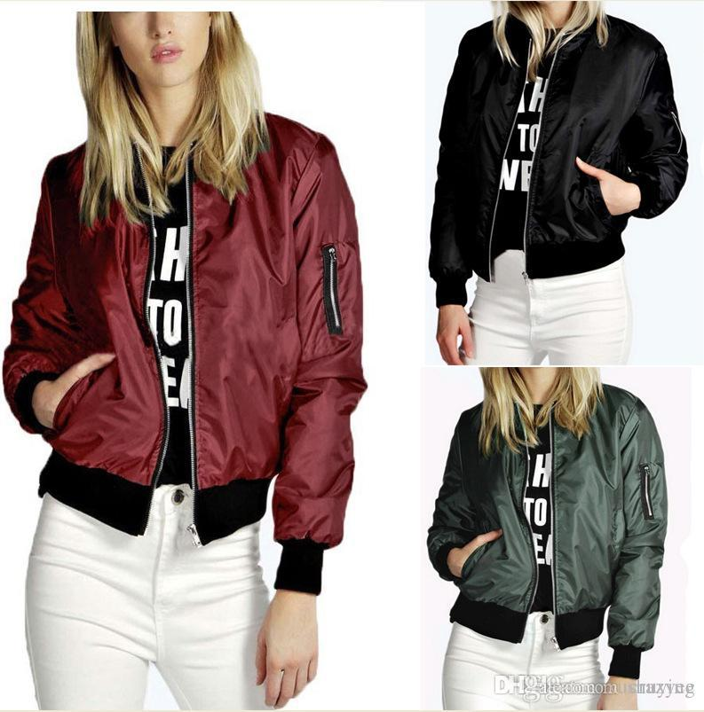 84d97d65aed S-4XL Spring Autumn Women Thin Jackets Tops MA1 Basic Bomber Jacket ...