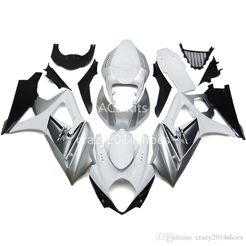 5 cadeaux gratuits Nouveaux kits de carénage moto ABS 100% Fit pour SUZUKI GSXR1000 K7 2007-2008 GSXR 1000 K7 07-08 nice silver white Article n ° 220