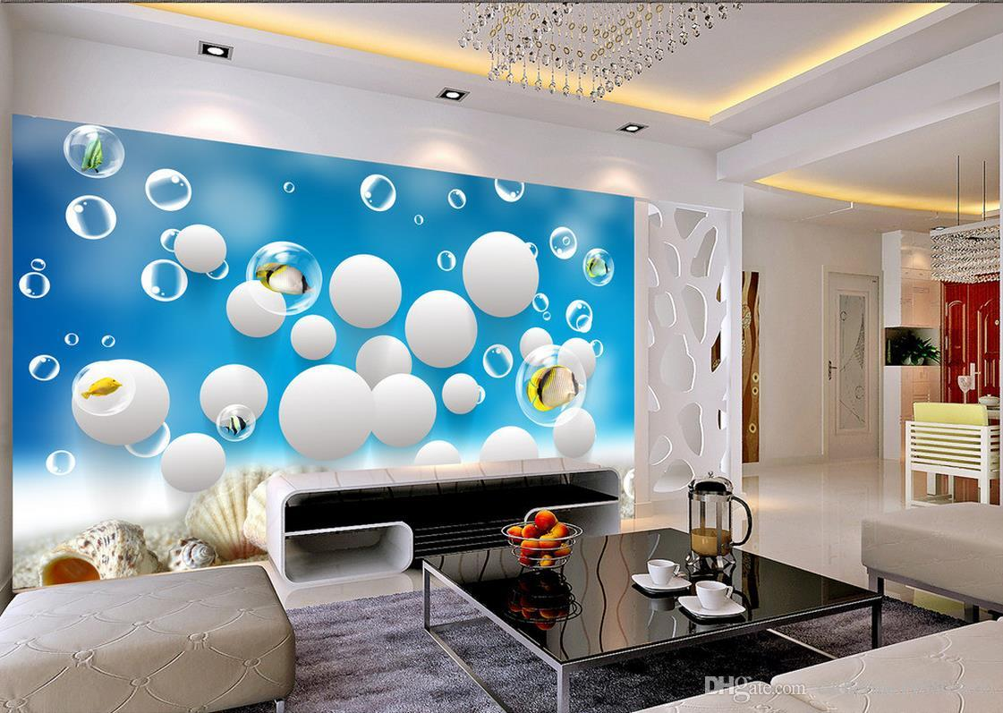 Papel de parede personalizado para paredes Home Decor Sala Arte Natural oceano World Fish 3D Stereo Wall