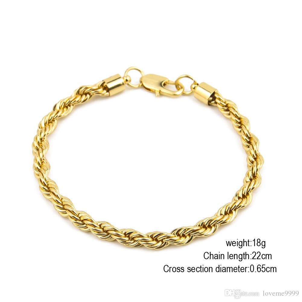 хип-хоп высокое качество 18k позолоченный нержавеющей стали веревки цепи ожерелье браслет рок Jewelr наборы для мужчин женщин 80 см длиной 6,8 мм / 10 мм