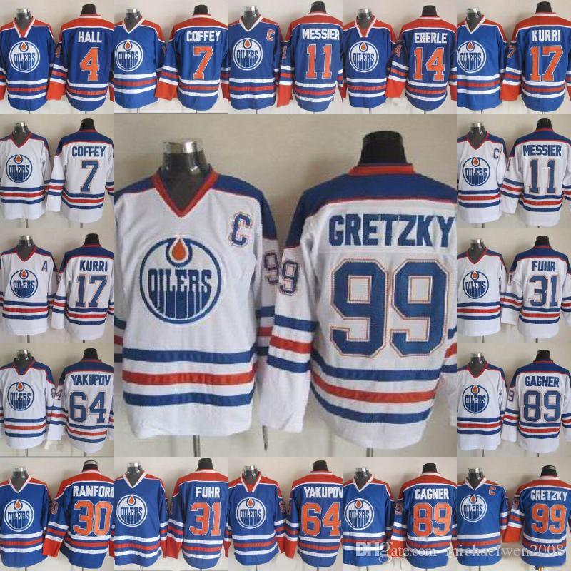 cfa595e5b 2019 Edmonton Oilers Jersey 99 Wayne Gretzky 4 Taylor Hall 14 Eberle 11  Mark Messier 17 Jari Kurri 89 Sam Gagner Hockey Jerseys Cheap From  Michaelwen2008