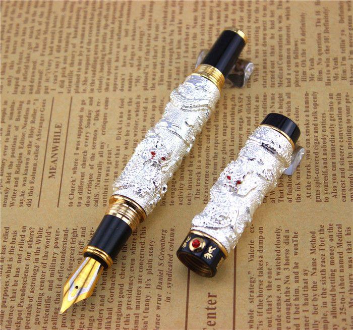 9f511422bf4 Atacado-JINHAO caneta-tinteiro design exclusivo Alta qualidade canetas de  dragão presente de negócios de luxo material de escritório da escola enviar  pai ...