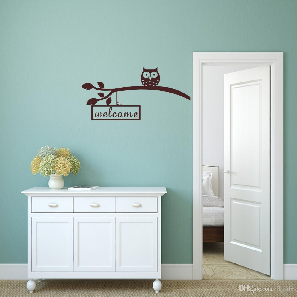 Owl On A Branch Welcome Quote Wall Stickers Art Vinyl Removable ...