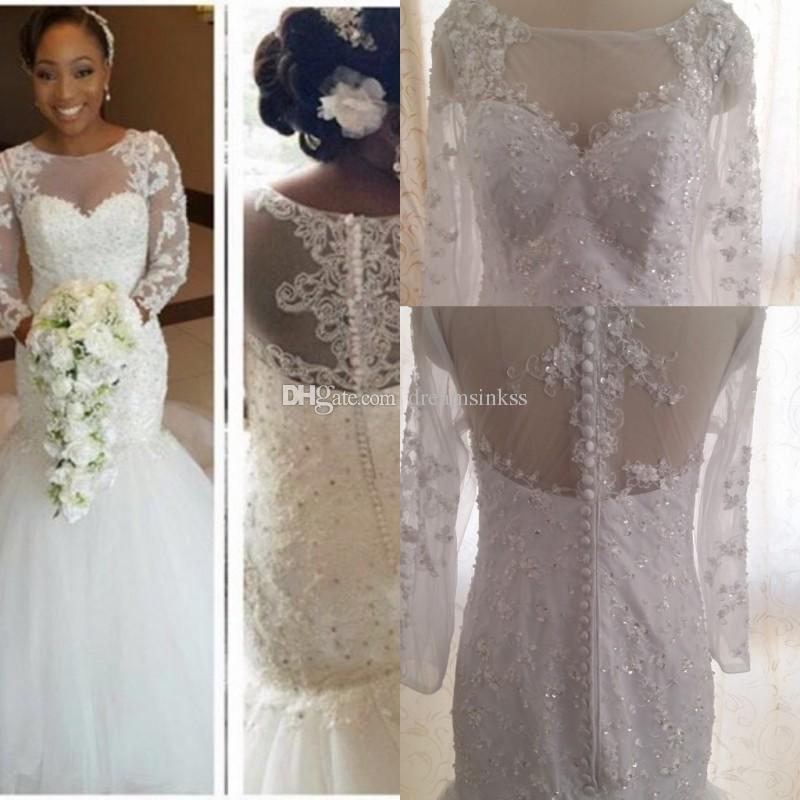 Vestidos de boda de la sirena del cordón de la vendimia 2017 mangas largas de los granos Vestidos de novia de Aradal fotos reales Vestidos de la boda con la cremallera y el botón