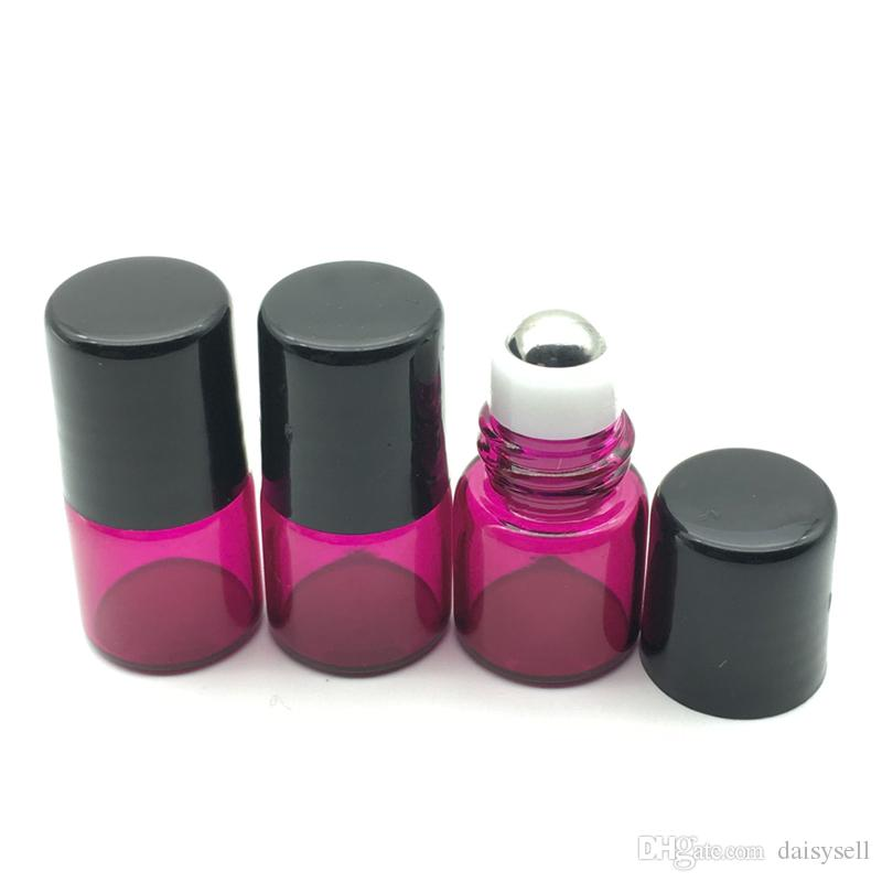 Empty 1ml Rose-Red Essential Oil Roll Glass Bottle with Metal Ball Roller on Bottle Perfume Sample Roller Metal Bottle