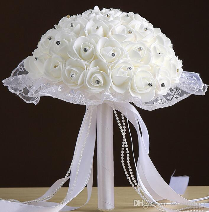 2019 hot sale Bride wedding ribbons beaded hand holding a bubble simulation flower white roses bouquet multicolor