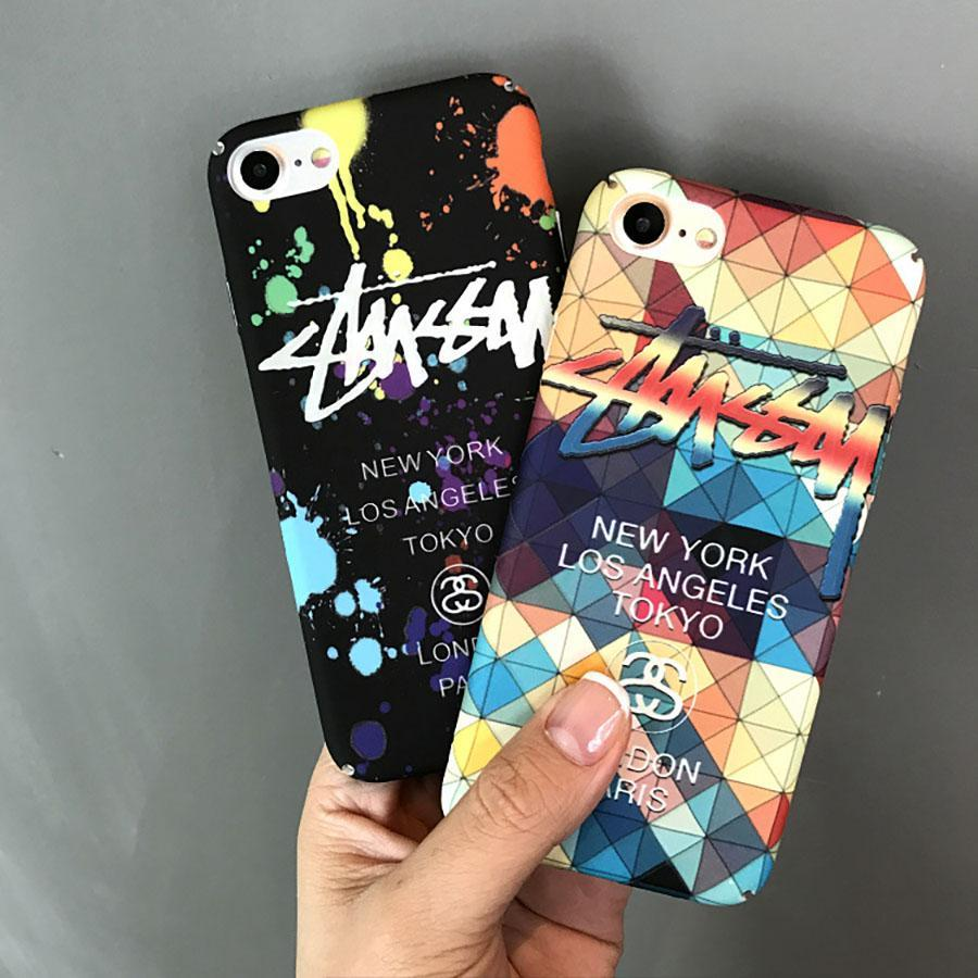 For iphone8 8plus 7 7plus 6s 6plus tide brand graffiti camouflage phone case all inclusive plastic acrylic hard case frosted cover designer phone cases best