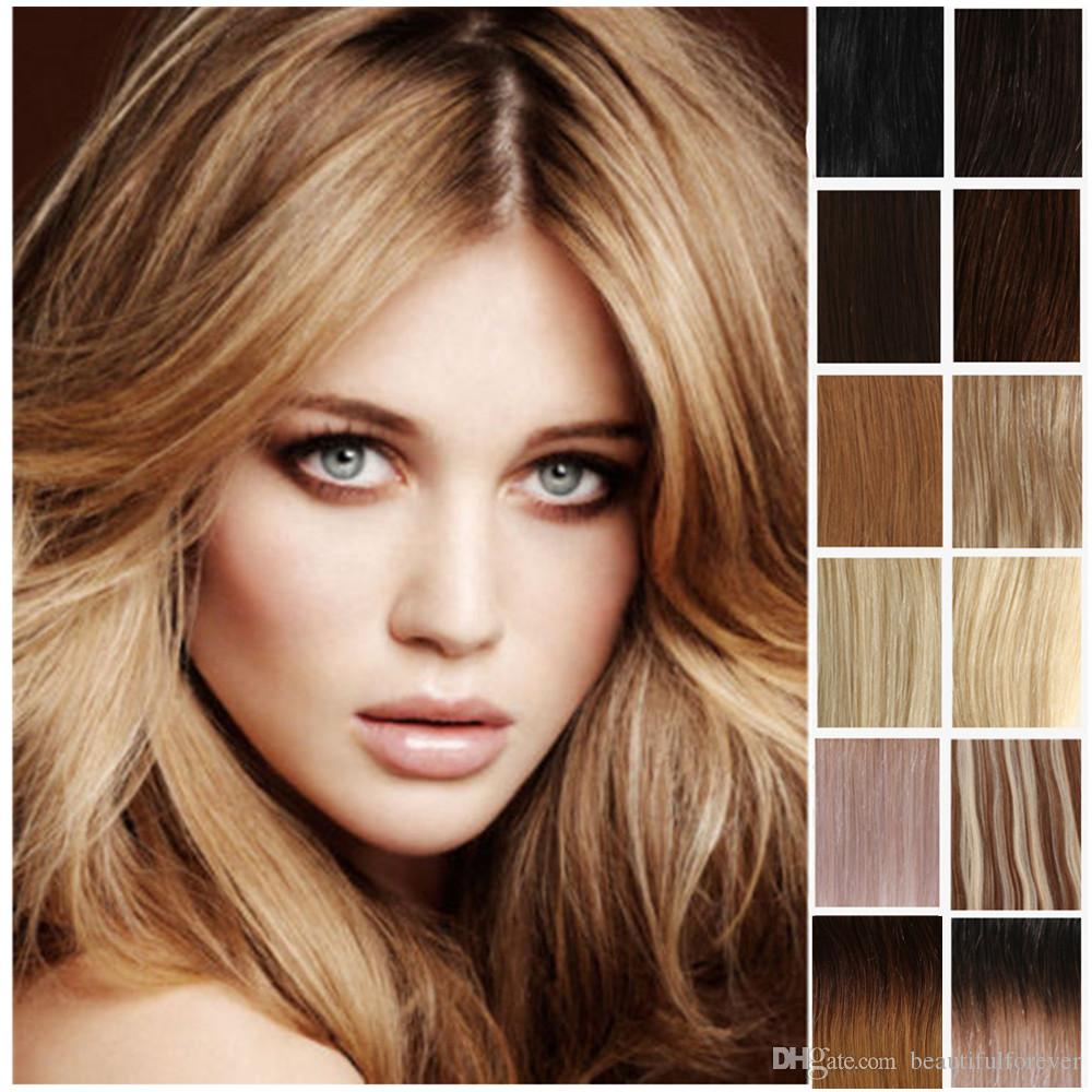 Clip In 100 Real Remy Human Hair Extensions Black Brown Blonde Full