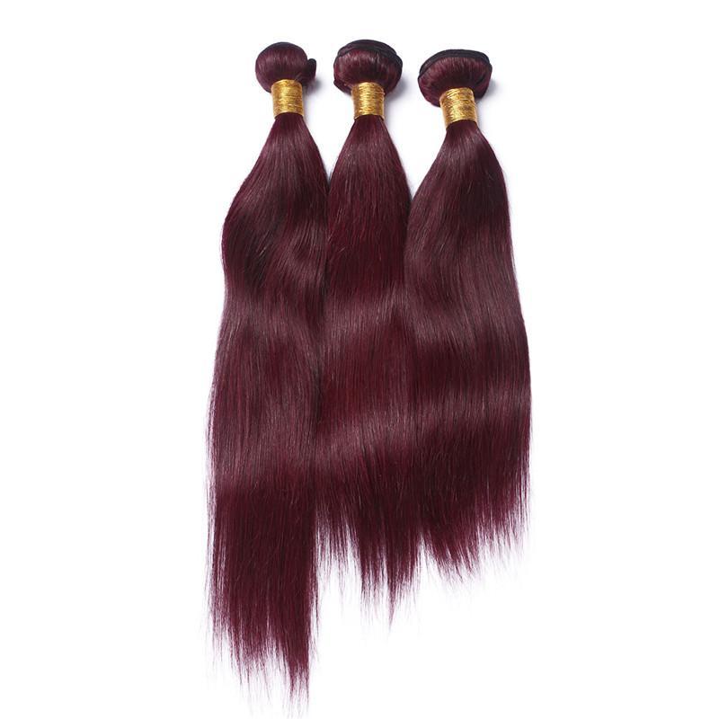 버진 브라질 와인 레드 인간의 머리카락 묶음과 레이스 정면 폐쇄 실키 스트레이트 # 99J 부르고뉴 귀에 귀에 13x4 레이스 정면과 짜다