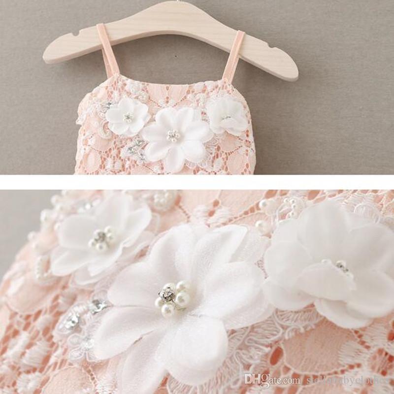2017 Printemps Robes Puffy Ruffle Filles Tutu Robe Dentelle Fleur Splip Filles Robe D'été Mignon Enfants Vêtements