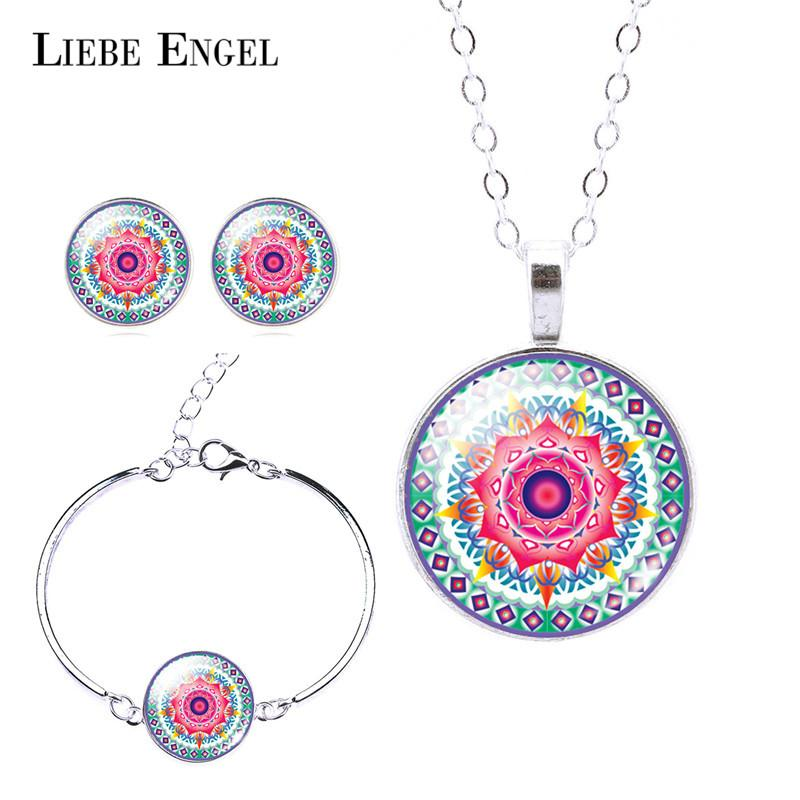 Best Liebe Engel Classic Silver Color Jewelry Set Om Symbol Buddhism