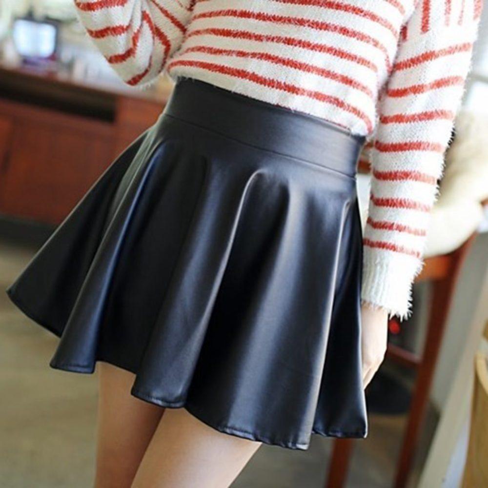 0fa2525f5 Compre Falda De Piel Sintética NewLady Girls Falda De Cintura Alta Plisada  Acampanada Skater De Cintura Alta A $18.82 Del Bichery | DHgate.Com