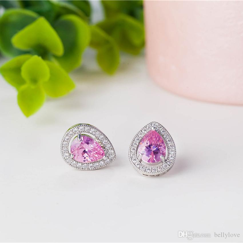 Top Quality Clear Crystal Cluster Pink Cubic Zirconia CZ 18K White Gold Plated Piercing Teardrop Stud Earrings for Women Best Gift
