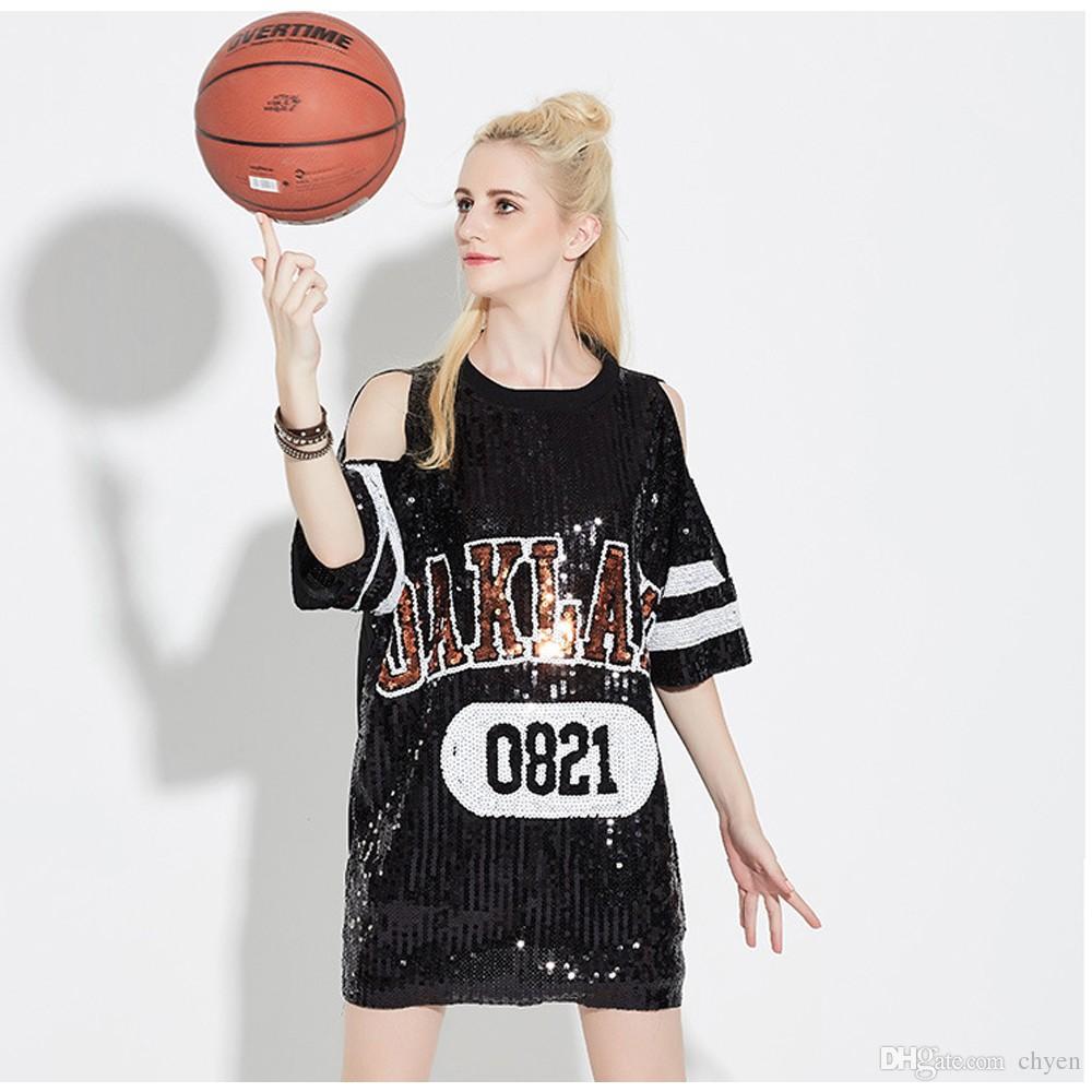 Новое лето женщины футболка хип-хоп рубашка блестки повседневная свободные рукава футболки длинный дизайн Tee топы черный футболка Dress Club платья