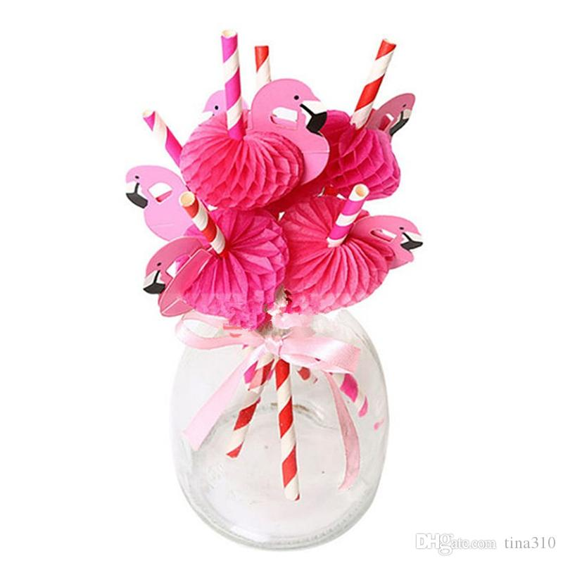 Wedding Decoration Sweet Funny flamingos Paper Drinking Straws Hot Pink Blue stripe Stick Baby shower For Birthday Party IC689