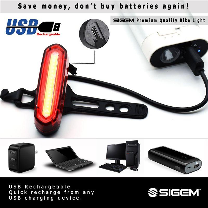Luce posteriore bicicletta Ricarica USB 6 modalità luce, casco impermeabile Luce anteriore Accessori LED ad alta intensità adatto a qualsiasi bicicletta Facile da installare
