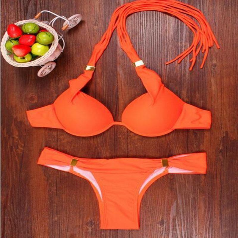 Moda Sexy Triangle Halter Low Waist Hanged Neck Bikini!2016 Nuevo Style Bikini Womens Push Up Mujer Swimwear Set Top Swimwear