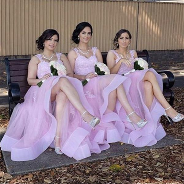 Light Pink Long Bridesmaid Dresses Spaghetti Sleeveless With Lace Applique Evening Gowns Back Zipper Custom Made Tiered Ruffle Party Gowns
