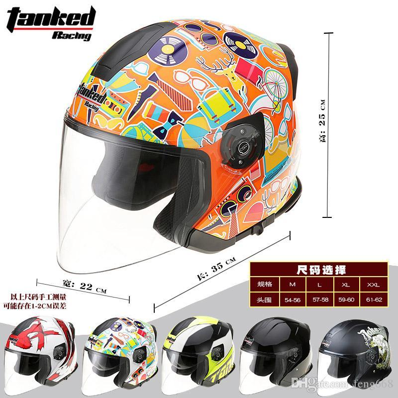 2017 Summer New Double lens Tanked Racing Half Face motorcycle helmet T957 ABS motorbike helmets for Knight protection equipment