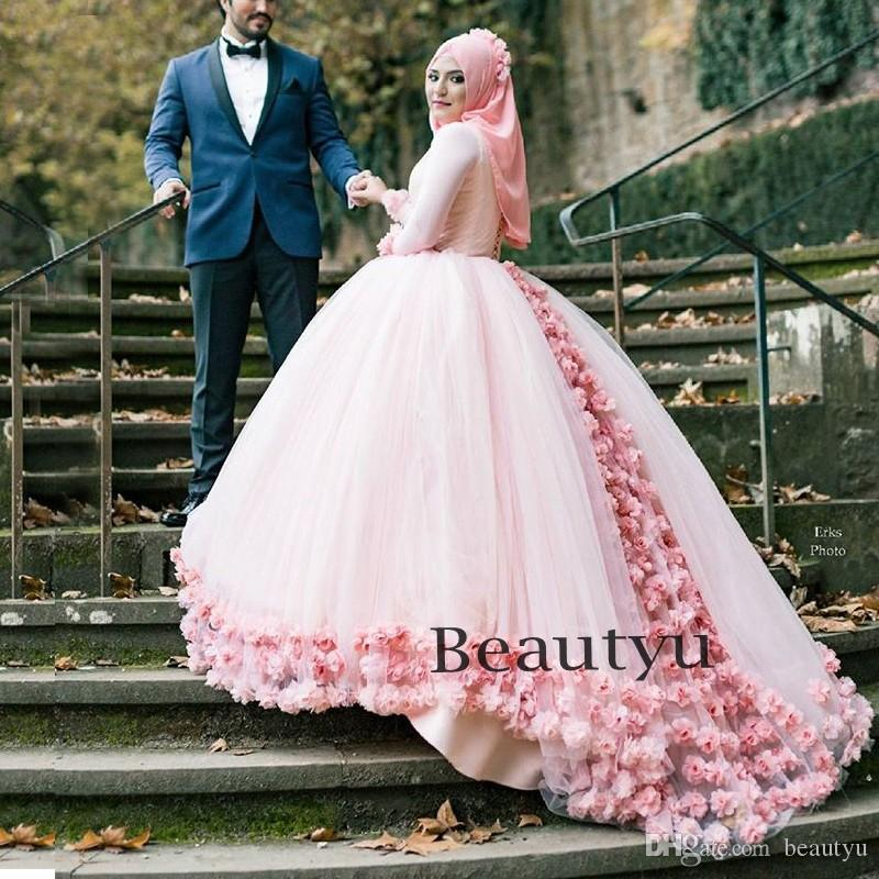 3d Floral Muslim Ball Gown Wedding Dresses 2017 Custom Plus Size Modest Dubai Arabic Light Pink Tulle High Neck Puffy Bridal Gowns Discount Gold