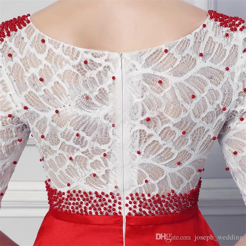 Spedizione gratuita Vestidos de Noiva Prom Dresses Scoop Neck Mezza maniche con perle in rilievo Abiti da sera formale in rilievo