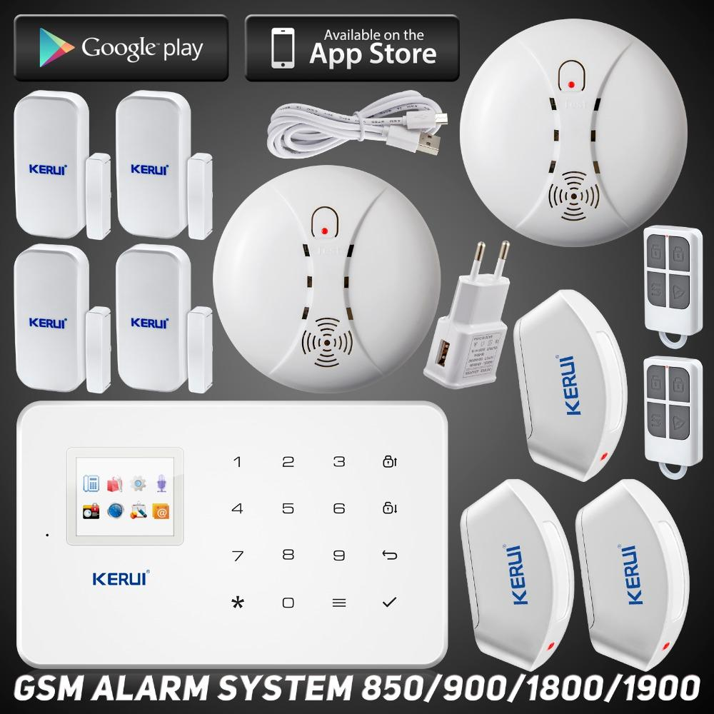 LS111- App remote control GSM home alarm system kit with 2 fire/smoke detector 3 curtain pir 4 door/window sensor Easy Operation