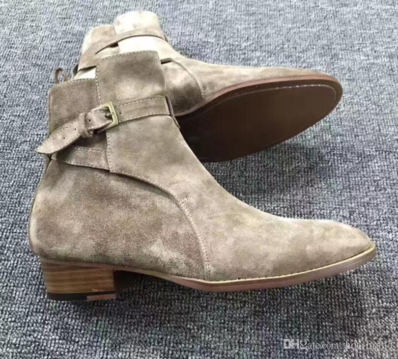 Chelsea Boots Herren Lederstiefel British Style Wildleder Lederstiefeletten High Top Slip auf Herren Stiefel