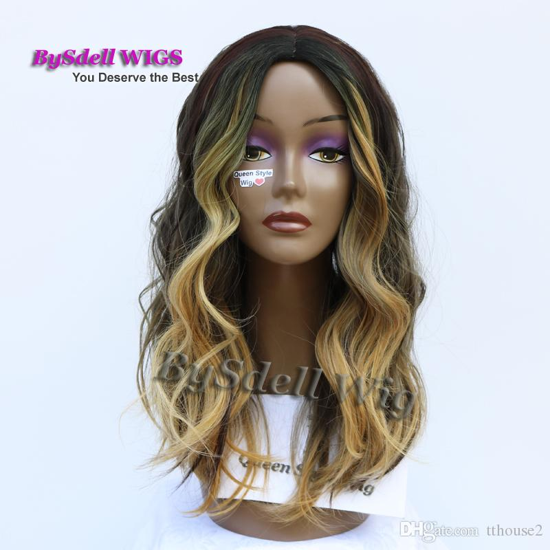 Luxury Synthetic Wig With Blonde Tip Celebrity Ciara Highlight