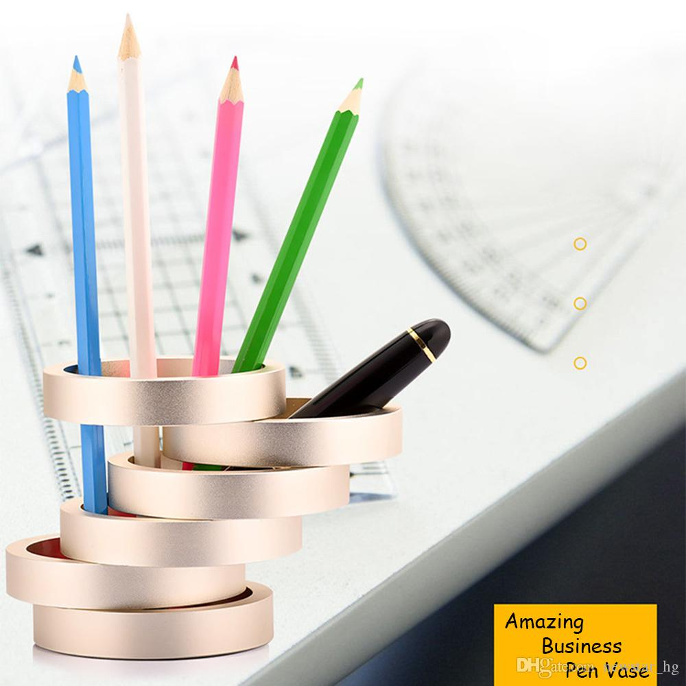 Creative Pen Stand Designs : Creative aluminum alloy pen holder pencil vase