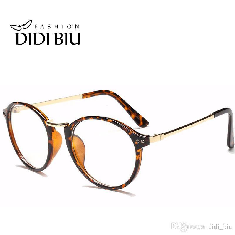 4a57dc5adb866b DIDI Runde Metall Brillen Rahmen Frauen Männer Klar Transparent Brille  Optische Verschreibungspflichtigen Brillen Rahmen Leopard Blume Glas Groß  H140