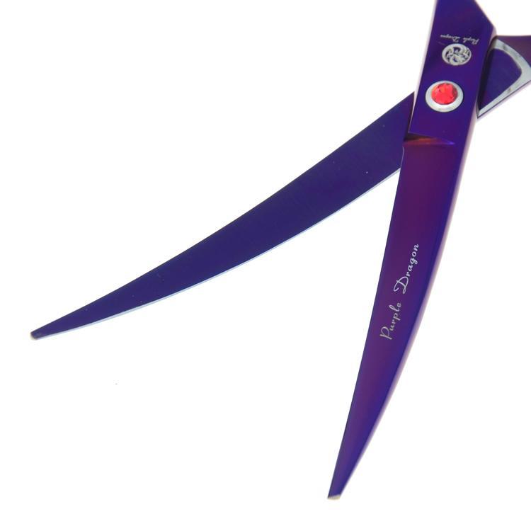 7.0 Inch Purple Dragon Professionale Pet Grooming Forbici Set Dog Forbici da taglio Forbici che si assottigliano Cesoie curve Forniture cuccioli, LZS0353