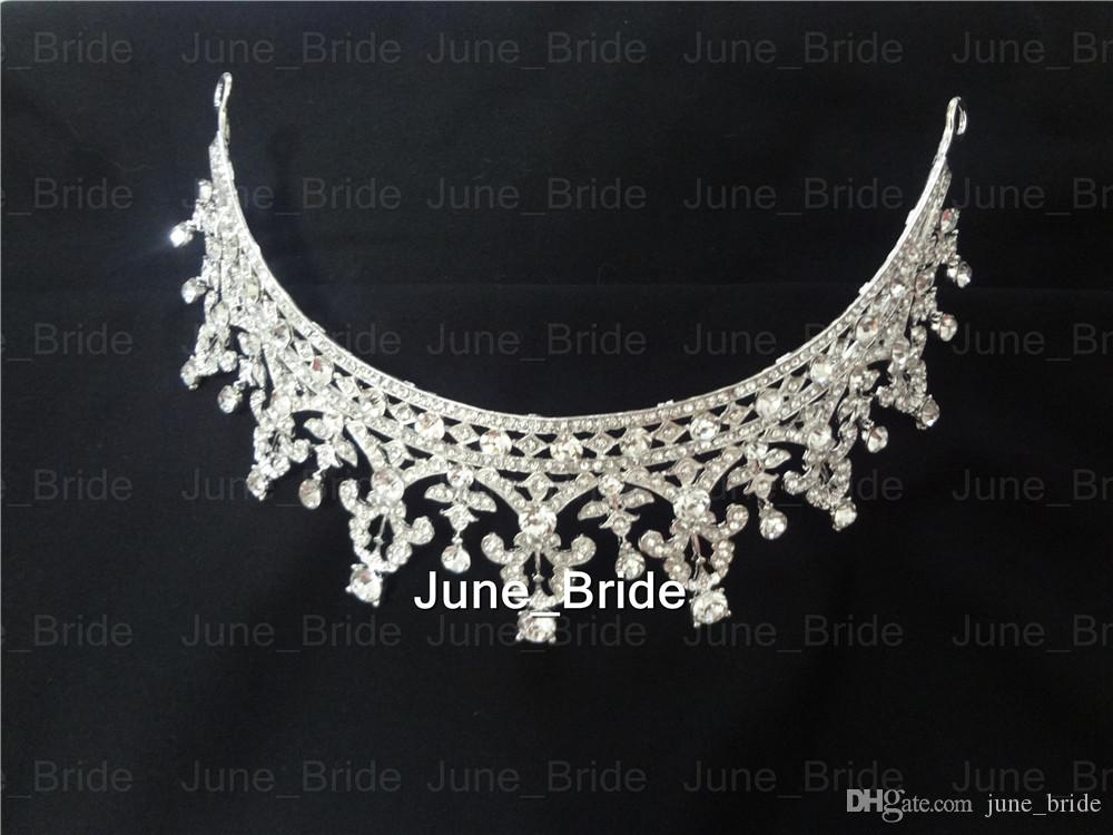 Real Photo Princess Vintage Crystal Rhinestone Bridal Jewellery Wedding Tiara Wedding Bride Hair Crown Party Crown Bridal Jewelry Accessory