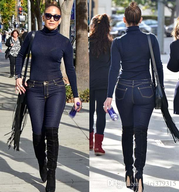 Top Quality High Design Women'S Two Piece Sets Bodycon Jumpsuit Denim Rompers Full Sleeve Tops And Bodycon Pants Overalls Outfits